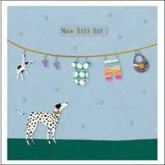 wenskaart woodmansterne - new baby boy - babykleertjes en hond