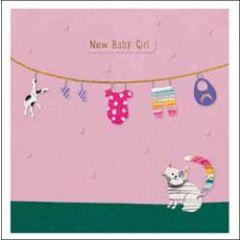wenskaart woodmansterne - new baby girl - babykleertjes en kat
