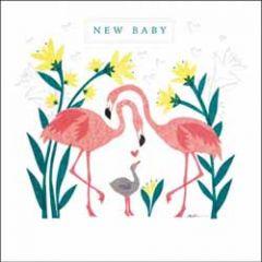 wenskaart woodmansterne - new baby - flamingo's