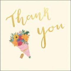 wenskaart woodmansterne - thank you - bosje bloemen
