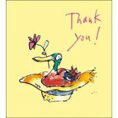 wenskaart quentin blake - thank you! - eend