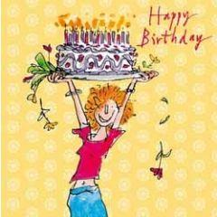 verjaardagskaart quentin blake - happy birthday - taart