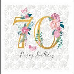 70 jaar - luxe verjaardagskaart woodmansterne - happy birthday - bloemen