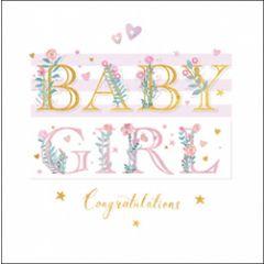 luxe geboortekaart woodmansterne - baby girl congratulations