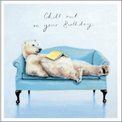 verjaardagskaart woodmansterne - chill out on your birthday - ijsbeer met boek
