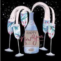 nieuwjaarskaart woodmansterne - happy new year - champagne