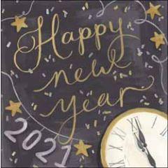 nieuwjaarskaart woodmansterne - 2021 happy new year - klok