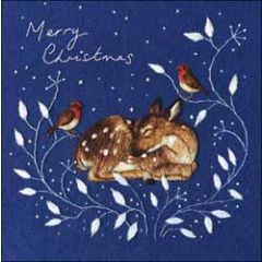 5 kerstkaarten woodmansterne - merry christmas - slapend hertje en roodborstjes
