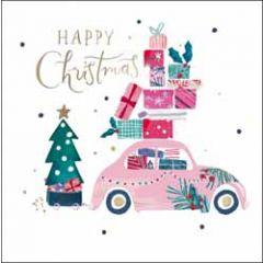 kerstkaart woodmansterne - happy christmas - auto met cadeautjes