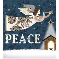 5 christelijke kerstkaarten woodmansterne - peace - engel en kribbe