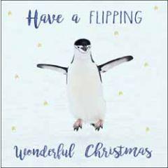 kerstkaart woodmansterne - have a flipping wonderful christmas - pinguin