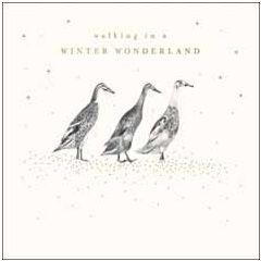 luxe kerstkaart woodmansterne - walking in a winter wonderland - eenden   muller wenskaarten