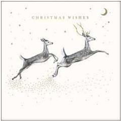 luxe kerstkaart woodmansterne - christmas wishes - reeën   muller wenskaarten