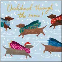 luxe kerstkaart woodmansterne - dachshund through the snow! - teckel   muller wenskaarten