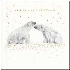 luxe kerstkaart woodmansterne - with love at christmas - ijsberen   muller wenskaarten