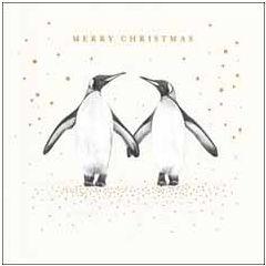 luxe kerstkaart woodmansterne - merry christmas - pinguins   muller wenskaarten