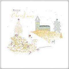 luxe christelijke kerstkaart woodmansterne - kerk | muller wenskaarten