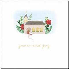 6 luxe christelijke kerstkaarten woodmansterne - peace and joy - kerk | muller wenskaarten