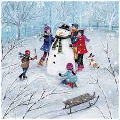 luxe kinderkerstkaart woodmansterne - sneeuwpop   muller wenskaarten