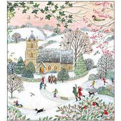 8 luxe christelijke kerstkaarten woodmansterne - kerk in de sneeuw | muller wenskaarten
