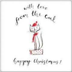 luxe kerstkaart woodmansterne - with love from the cat happy christmas!   muller wenskaarten