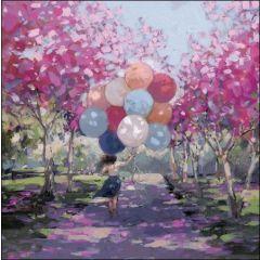 verjaardagskaart woodmansterne - meisje met ballonnen