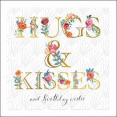 luxe verjaardagskaart woodmansterne - hugs & kisses and birthday wishes