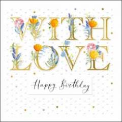 luxe verjaardagskaart woodmansterne - with love - happy birthday