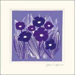 wenskaart woodmansterne - paarse bloemen