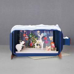 3D pop up kerstkaart - message in a bottle - kinderen en cadeautjes