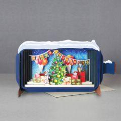 3D pop up kerstkaart - message in a bottle - kerstboom met cadeautjes