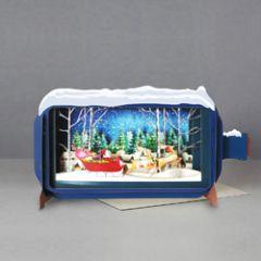 3D pop up kerstkaart - message in a bottle - kerstman in slee