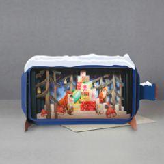 3D pop up kerstkaart - message in a bottle - cadeautjes