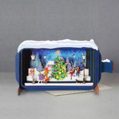 3D pop up kerstkaart - message in a bottle - kerstboom en kinderen