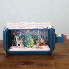 3D pop up kerstkaart - message in a bottle - kerstboom met dieren
