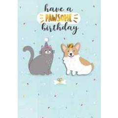 verjaardagskaart - have a pawsome birthday - kat en hond