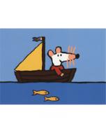 ansichtkaart - muis - zeilboot