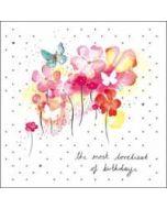 verjaardagskaart woodmansterne pink -  the most loveliest of birthdays