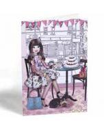 wenskaart glam girls - koffie met gebak