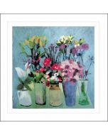 set van 10 blanco bloemenkaarten