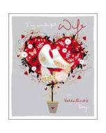 grote valentijnskaart woodmansterne - to my wonderful wife on valentine's day - vogels en hart - voor mijn vrouw
