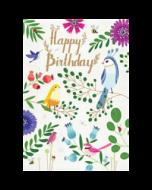 wenskaart roger la borde -  happy birthday - bloemen en vogels