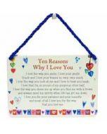 tinnen bordje met quote -hang-ups! - tekstbordje -  ten reasons why I love you