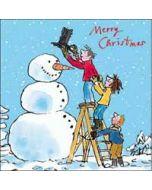 luxe kerstkaart Woodmansterne Quentin Blake - merry christmas - sneeuwpop