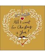 luxe kerstkaart woodmansterne - all I want for christmas is you! - hart kerstkrans