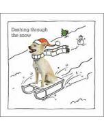 luxe kerstkaart woodmansterne - dashing through the snow - hond op slee