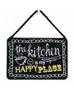 tinnen bordje met quote - hang-ups! - tekstbordje - the kitchen is my happy place