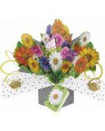 3D verjaardagskaart - pop ups - for you on your birthday - bloemen