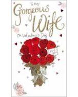 grote luxe handgemaakte valentijnskaart - to my gorgeous wife on valentines day - rode rozen voor mijn vrouw