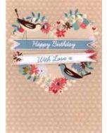 verjaardagskaart - happy birthday with love - hart van bloemen